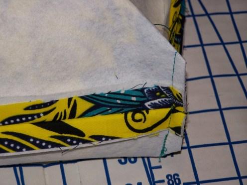 Sew finished seam to close corners
