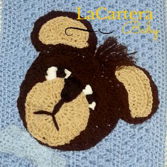 Crochet Applique - https://lacarteradesigns.com/2015/06/06/sleepy-boo-boo-bear-crochet-applique/