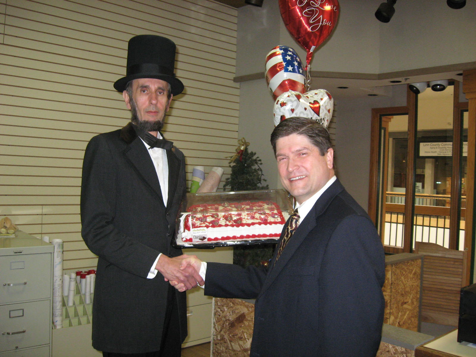 President Lincoln presenting me with a cake for Valentine's Day
