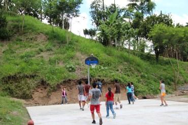 The kids enjoying the court