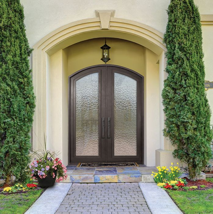 96 full lite arch top double privacy glass entry door