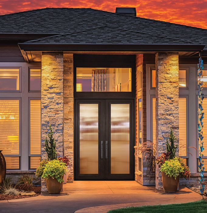 96 full lite double privacy glass entry door