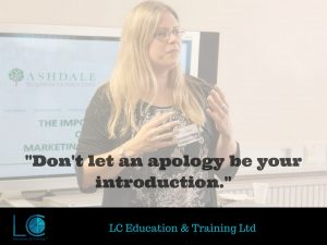 """Image of managing director Lyn Calver with the quote, """"Don't let an apology be your introduction."""""""