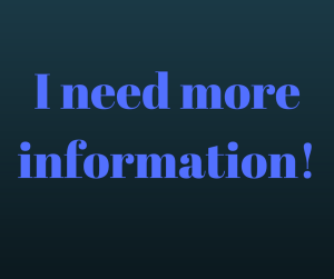 "Graphic saying ""I need more information!"" linked to our online courses"