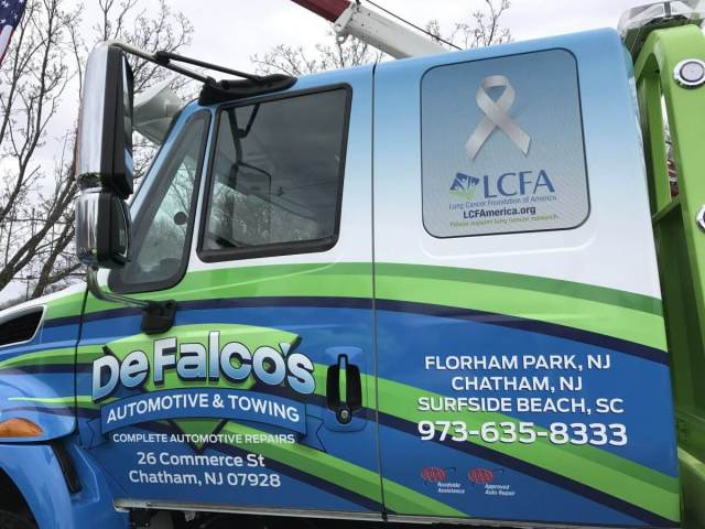 DeFalco Truck carries Lung Cancer Foundation of America logo to raise lung cancer awareness