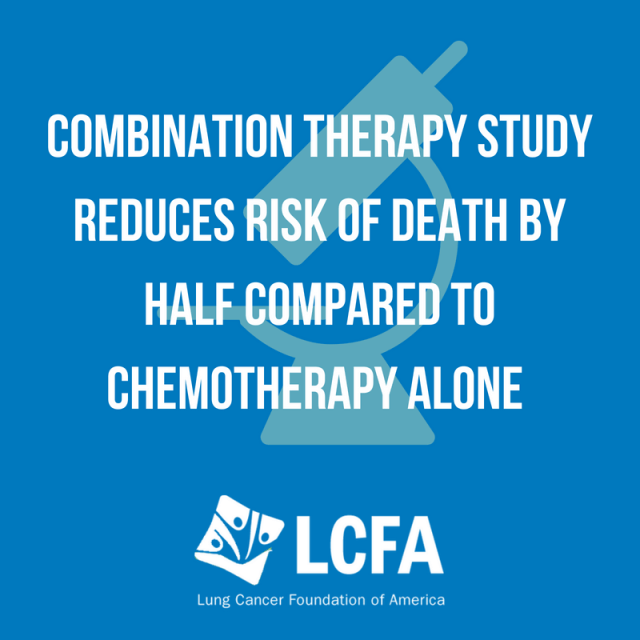 Combination therapy study reduces risk of death by half compared to chemotherapy alone.