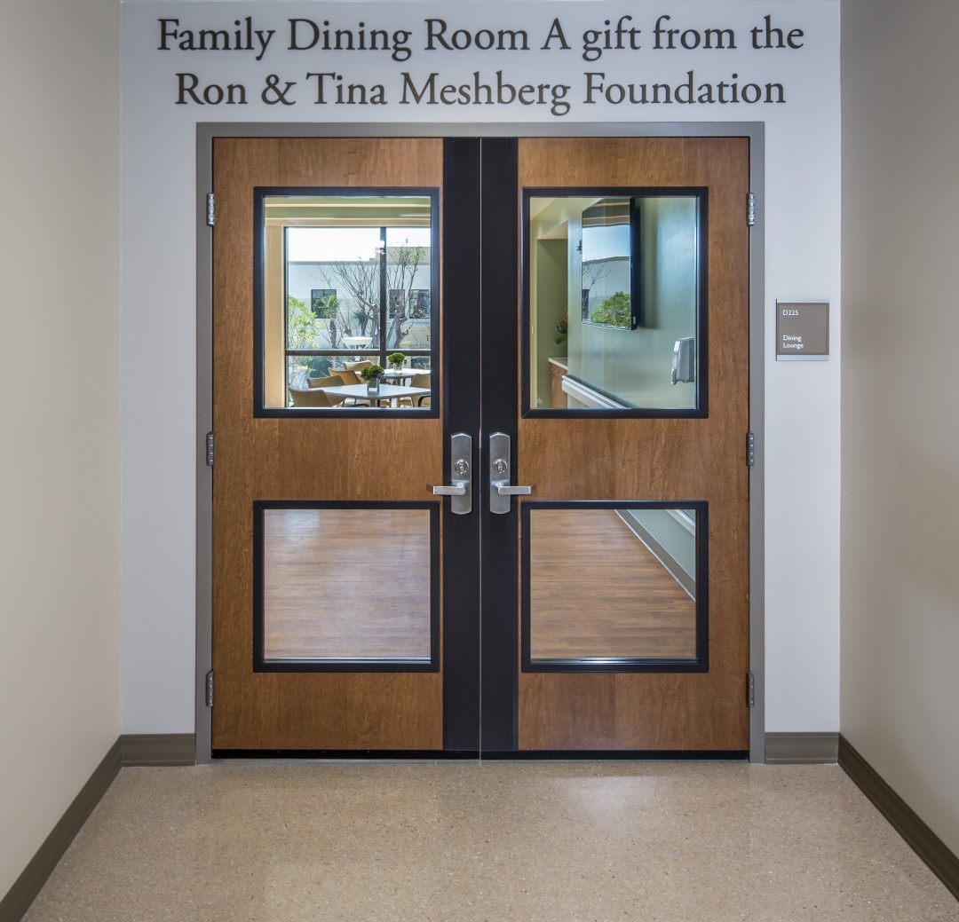 Family dining room double doors at Jupiter Medical Center