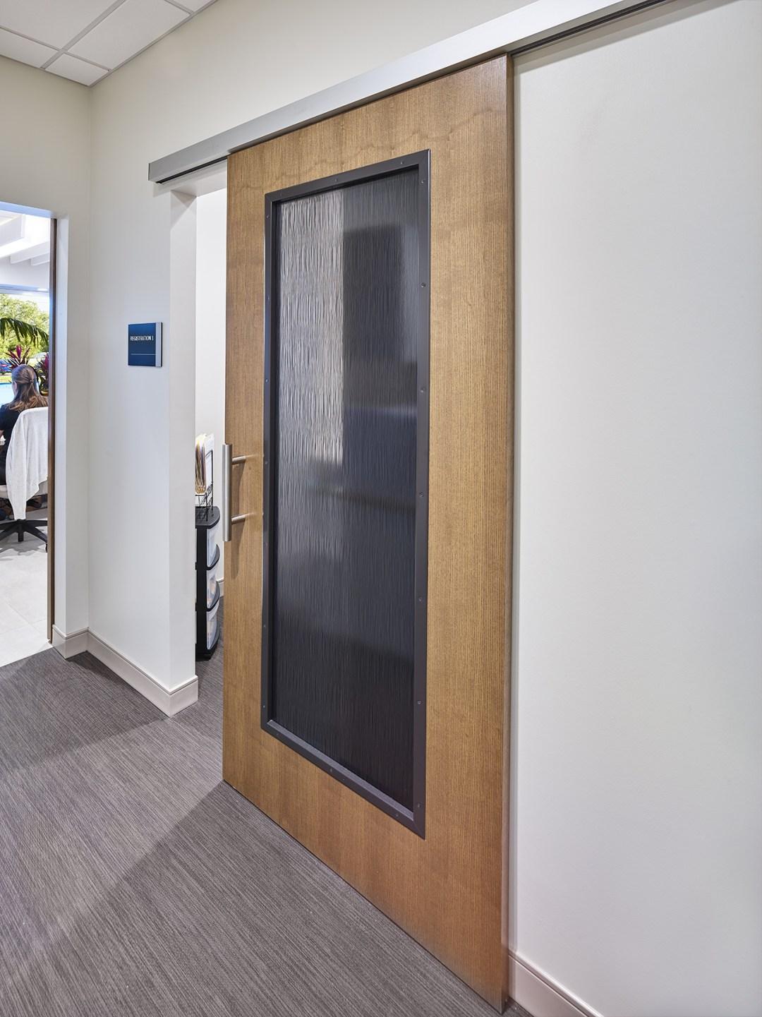 Translucent sliding door in Cypress Creek Medical Pavilion