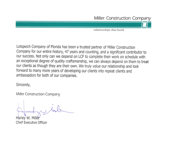 Client testimonial from Miller Construction, speaking about the work they have done with Lotspeich