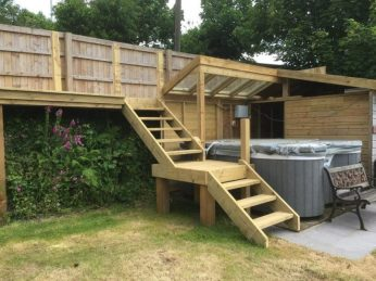 Open riser staircase and raised decking area