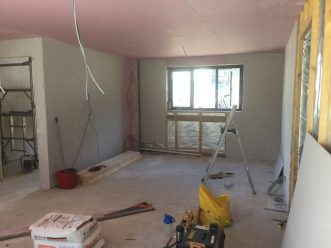 internal stud work and plaster boarding