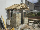 cut roof assembled in place