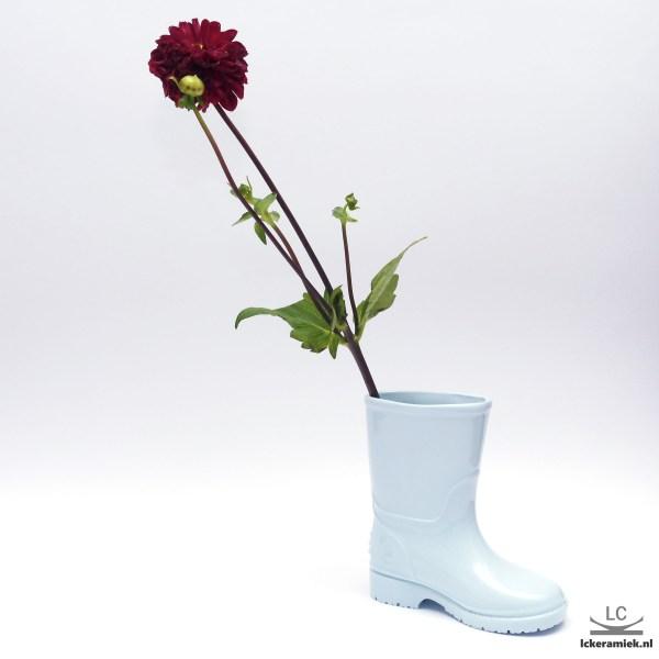 Porseleinen vaasje blauwe laarzen