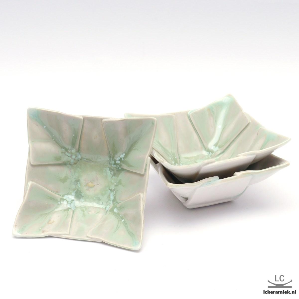 groene porseleinen tapas/amuse schaaltjes