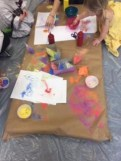 Toddler Art #2: Fine Motor Fest! (Here we were experimenting with glue and colored sand.)