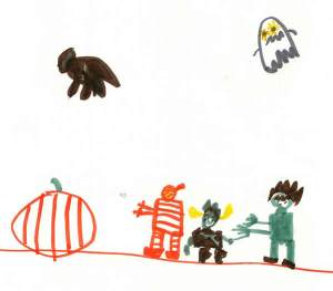 Child's drawing of monsters