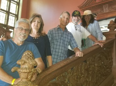 Ron Anast, Diana Anast, Jim Ayres, Bob Rosas and Carmen Rosas on the grand staircase.