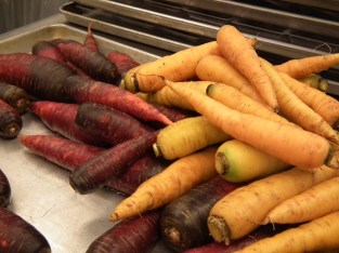 Tricolor carrots were just one of the vegetables students sampled.