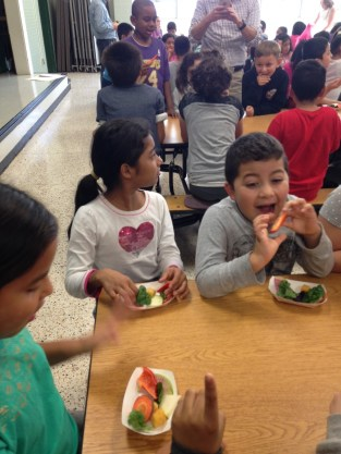 Students tried a variety of vegetables donated by Willowsford Farm.