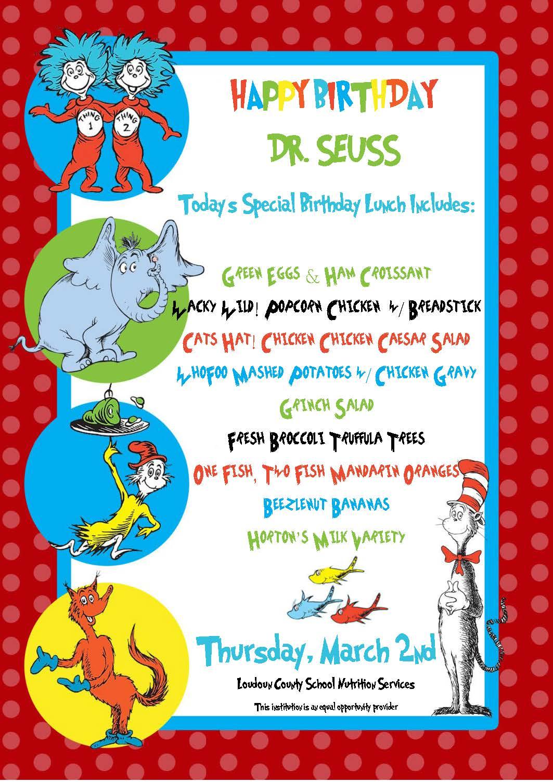 Dr Seuss Birthday Menu The Daily Bite By Lcpscafe