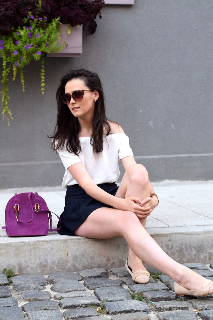 irish fashion: Off The Shoulder Top and Pleated Skirt 4