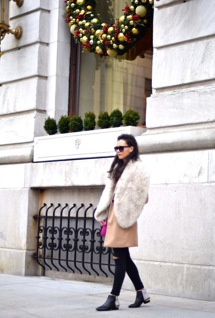 camel coat and fur stole 6