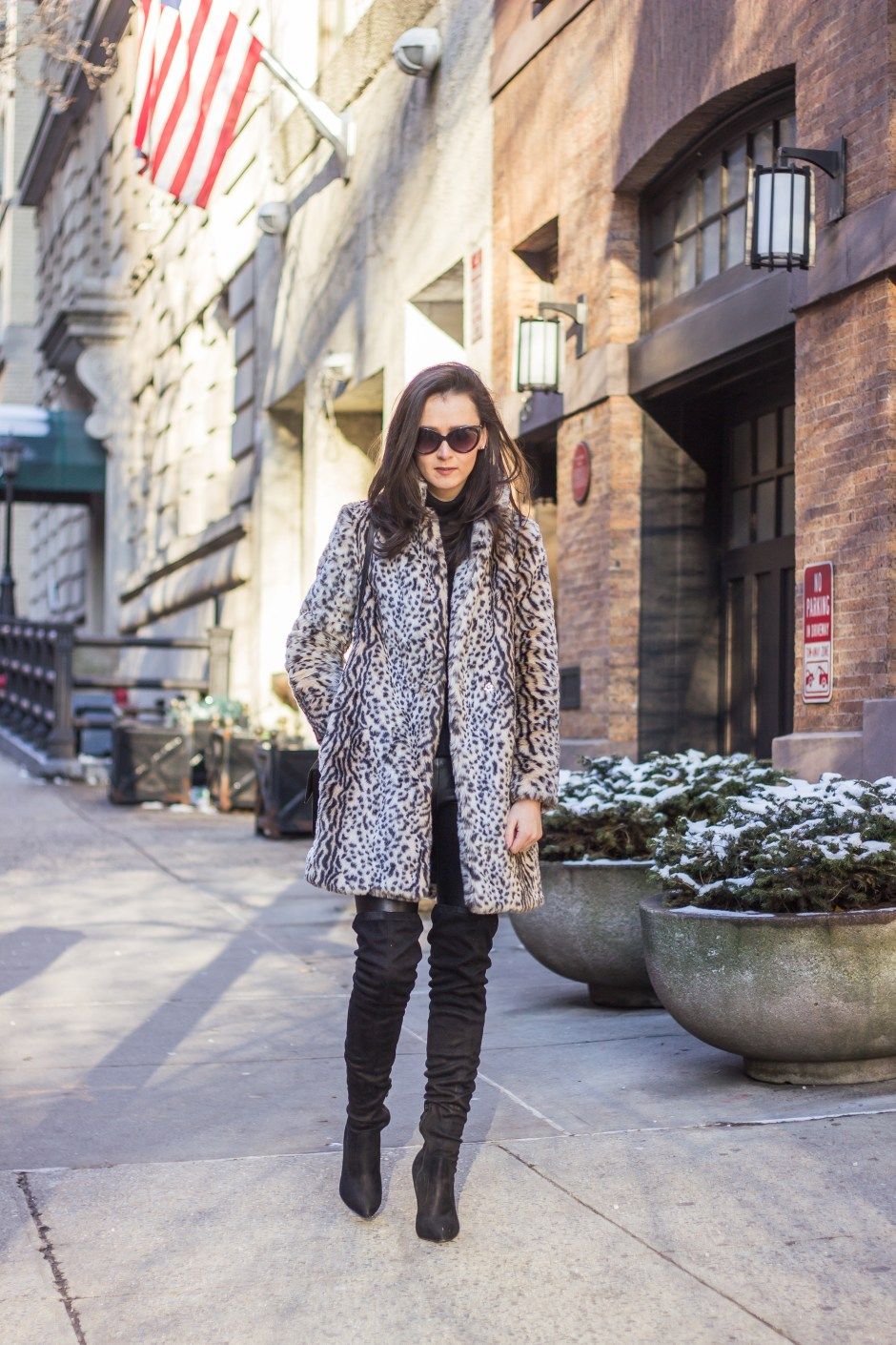NYC Blogger: faux fur coat and over the knee boots 9