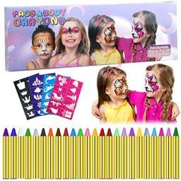 Trucchi per Truccabimbi, Emooqi 24 Colori Viso Body Paint Pittura con 4 Stencil Face Paint per Bambini, Trucchi Carnevale Viso, Pasqua, Cosplay, Feste a Tema - Sicuro e Non Tossico Create a face