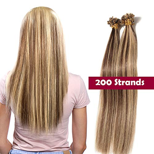 "Extension Capelli Veri Cheratina 200 Ciocche 100g U Tip Hair Extension 100% Remy Human Hair 0.5g/Ciocca (22"" 55cm #4P27 Marrone Medio&Biondo Scuro)"