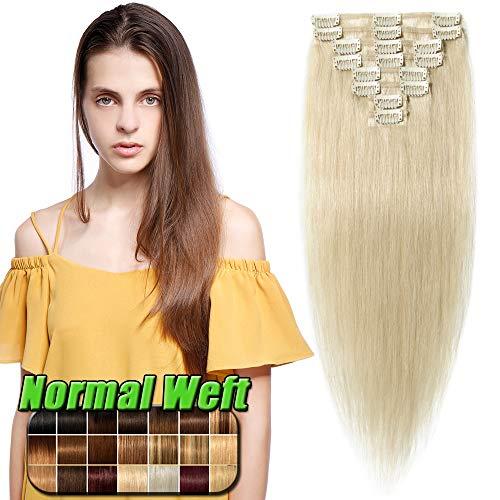 Extension Capelli Veri Clip Naturali - 50cm/70g #60 Biondo Platino- 8 Fasce 100% Remy Human Hair Capelli Veri Lisci