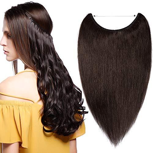 """Extension Capelli Veri Filo Invisibile 16"""" 40cm Fascia Unica Castano 60g Capelli Umani Naturali 100% Remy Human Hair Lisci #2 Marrone Scuro"""