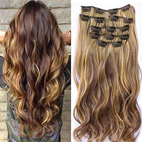 Extension per capelli, composta da 7 pezzi con fermagli integrati, cappelli mossi, realizzata in bagno di colore, colore: castano scuro con riflessi chiari, dimensioni: 55 cm