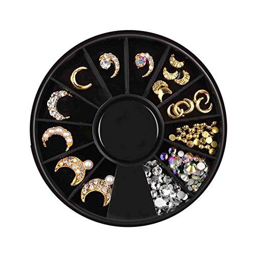 Hotaluyt 12 Griglie in Lega Galvanotecnica Nail Accessori Stella Luna Rivet Manicure Paillettes Vassoi Set Decoration