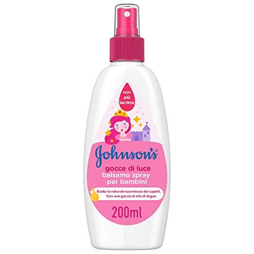 JOHNSON'S Baby, Balsamo Spray per Bambini, Gocce di Luce, Senza Coloranti Solfati Alcol e Sapone, Non Più Lacrime, con Proteine della Seta e Olio di Argan, 200ml