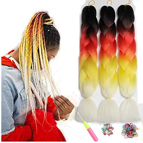 "Kanekalon Xpressions Ombre Black Braiding Hair 24"",Showjarlly Ombre Jumbo Braid Hair Extension High Temperature Fiber 3pcs/Lot 100g/pc For Crochet Twist Braiding Hair(D4#Orange/Yellow/Blue/Purple Red)"
