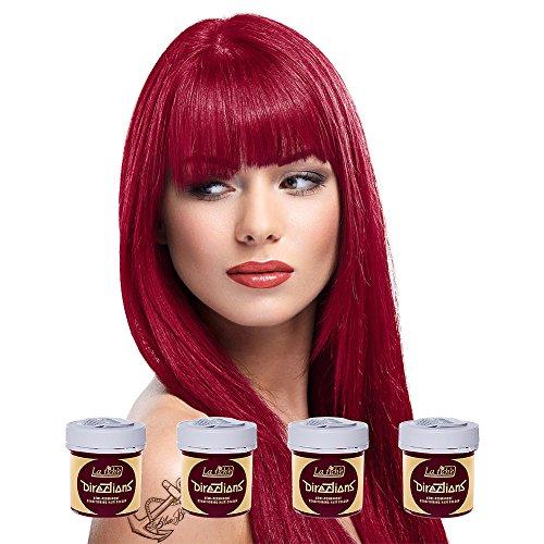 La Riche Directions Semi-Permanent Hair Colour Dye Box Of Four-Rose Red by La Riche