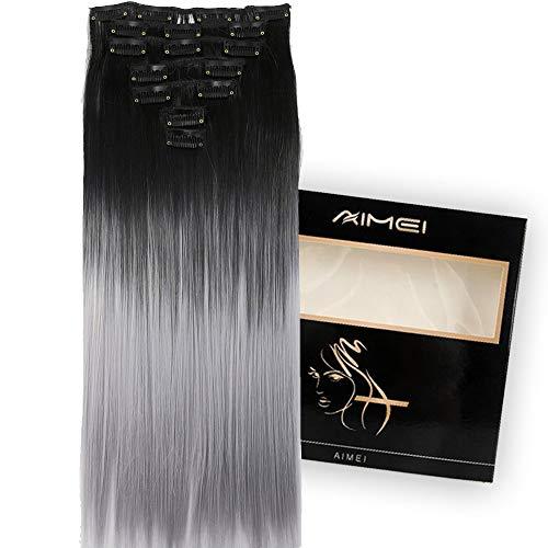 """Neverland Dip Dye extension per capelli lunghi e lisci a clip in due tonalità 24"""", 7 pezzi 16clips"""
