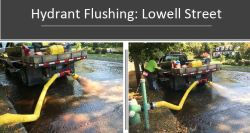Hydrant flushing helps to remove naturally occurring buildups that are found in groundwater, as shown by the photos above. (Photo courtesy of the Lynnfield Center Water District)