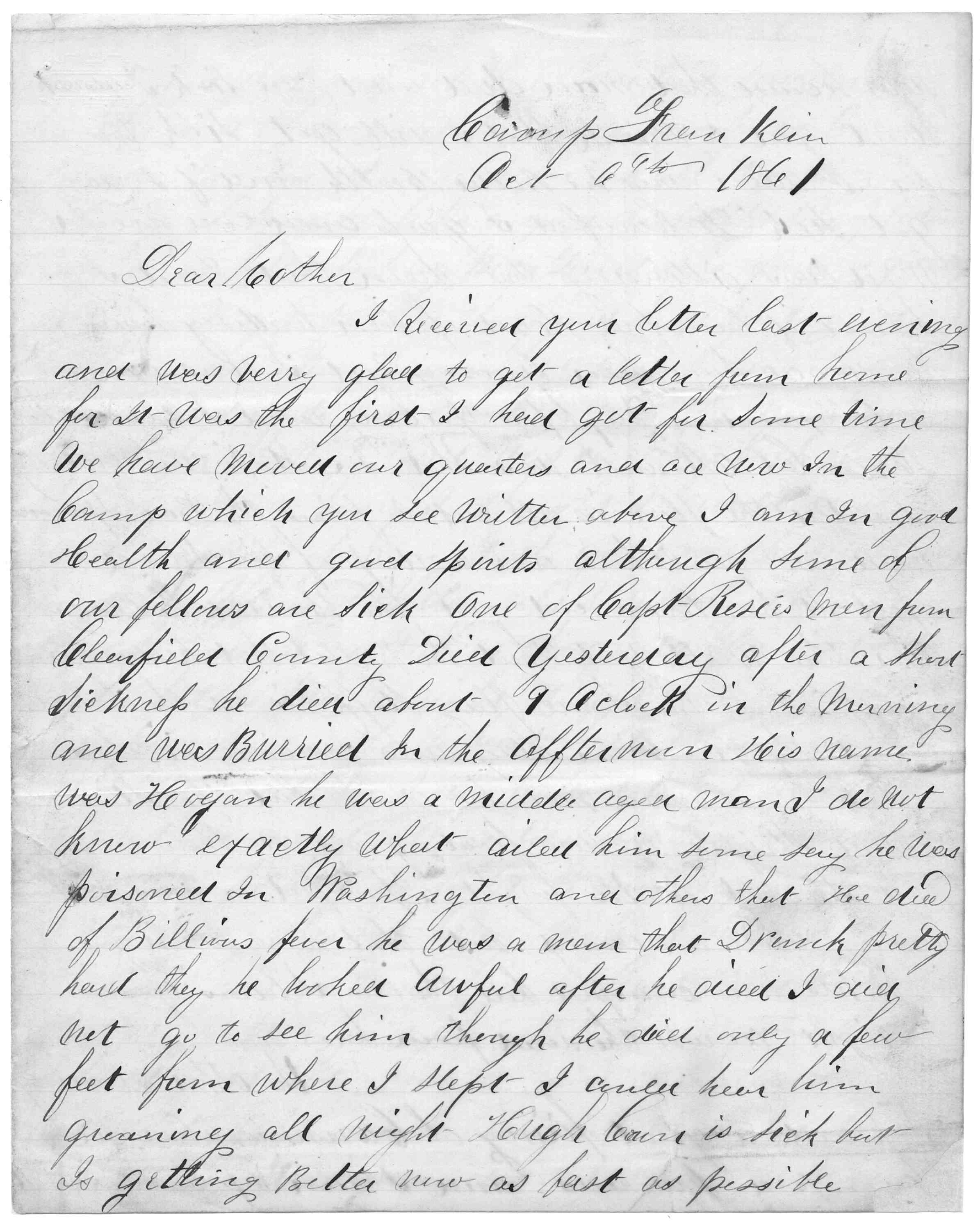 Letter From Tilton C Reynolds To Juliana Smith Reynolds