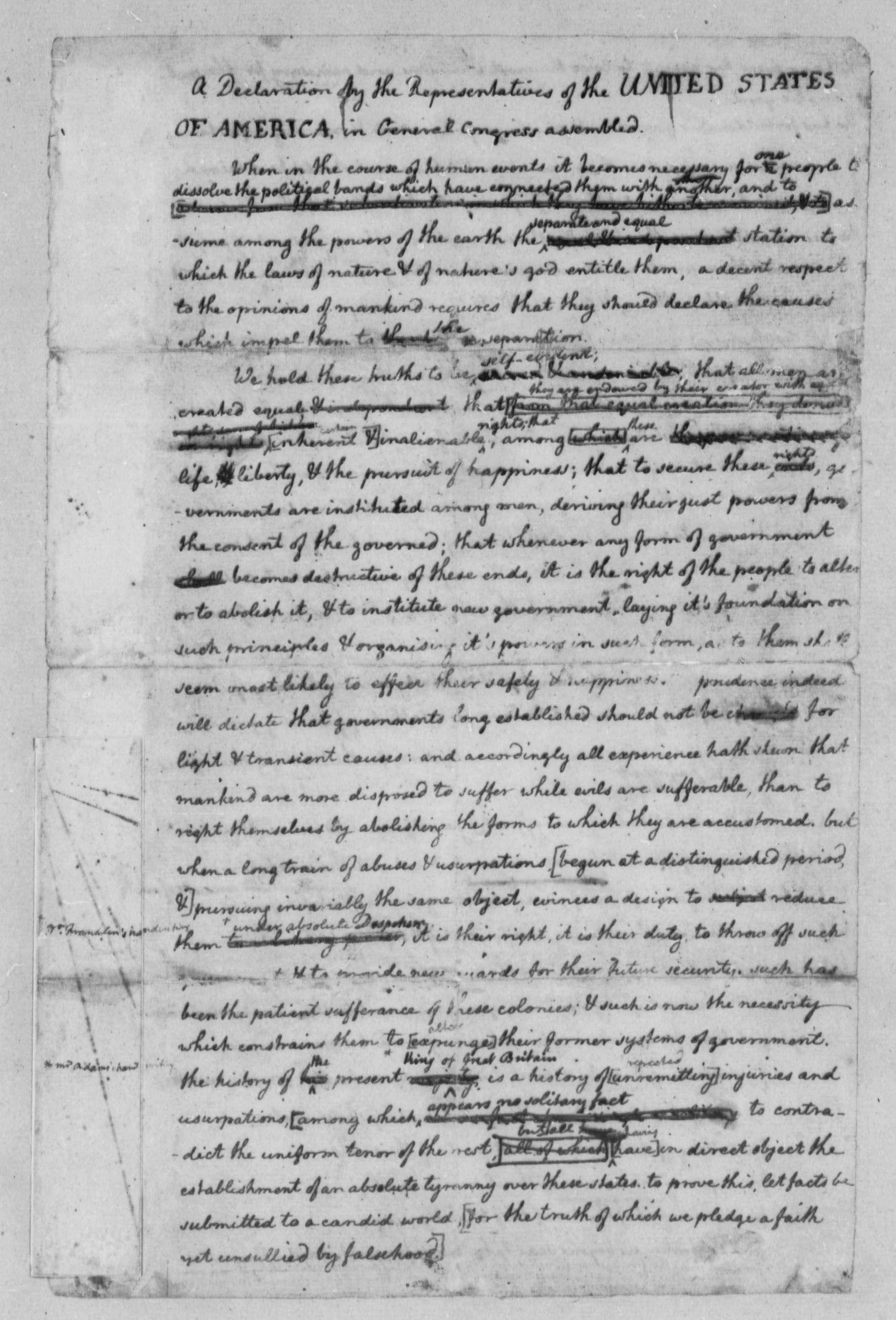 Thomas Jefferson June Rough Draft Of The