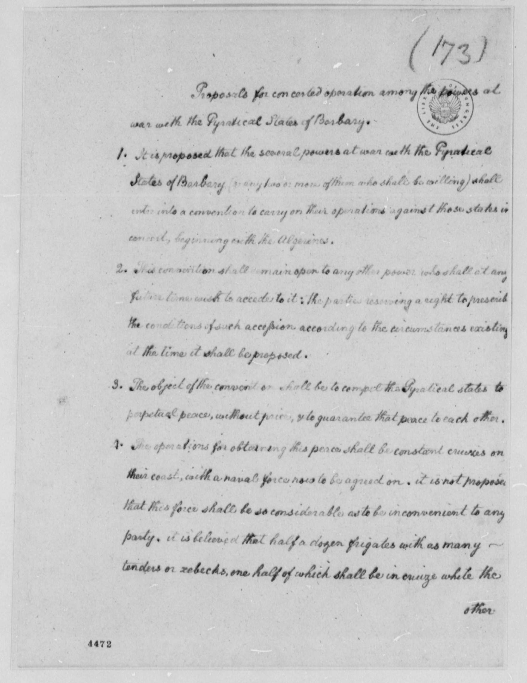 Thomas Jefferson Proposals For War Powers Against The Barbary States With Copy