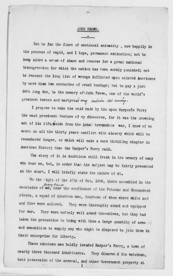 """Page 2 of """"A Lecture on John Brown"""" - Folder 1 of 2 ..."""