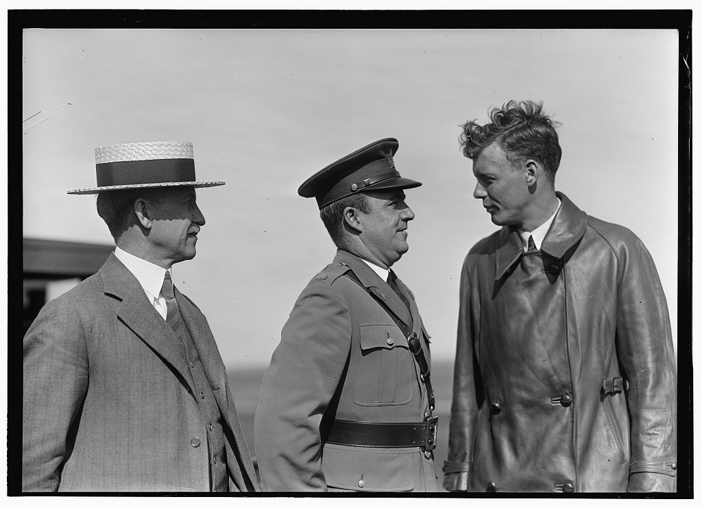 Orville Wright, Major John F. Curry, and Colonel Charles Lindbergh