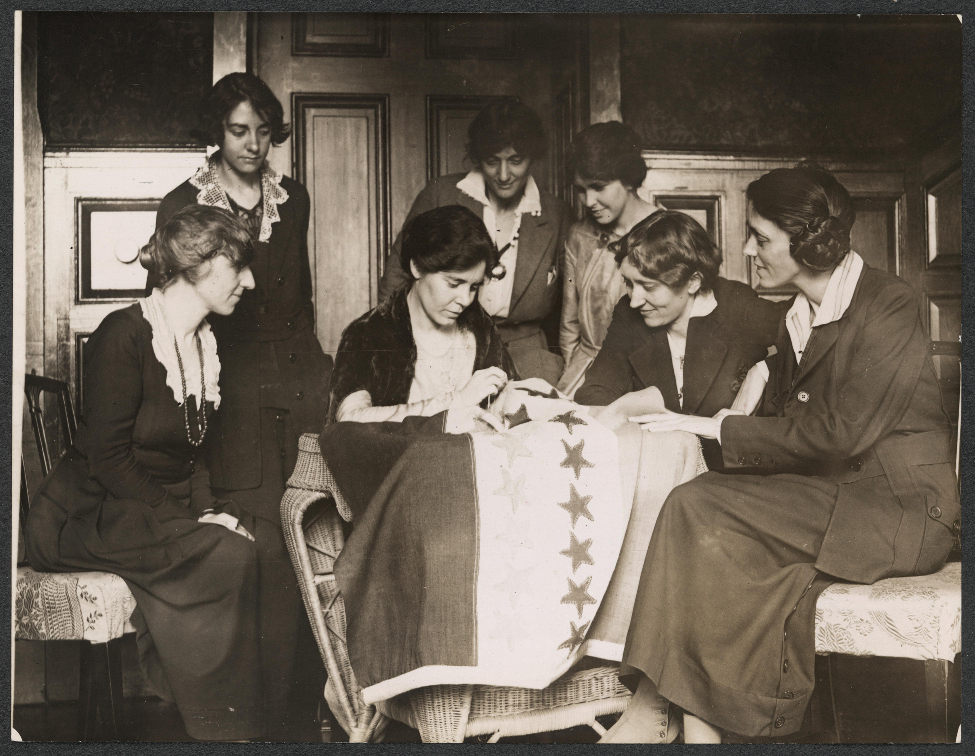 National Woman S Party Activists Watch Alice Paul Sew A