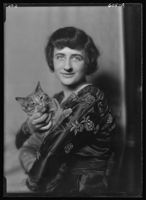 Frost, Lucille, Miss, with Buzzer the cat, portrait photograph