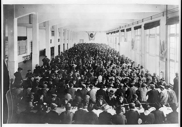 Rows of tables crowded with men, dining room, Immigrant Hotel, Buenos Aires, Argentina