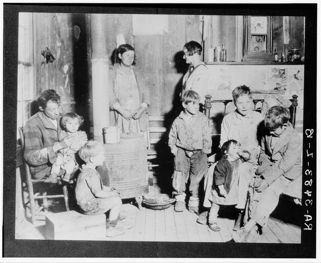 Interior showing family of nine