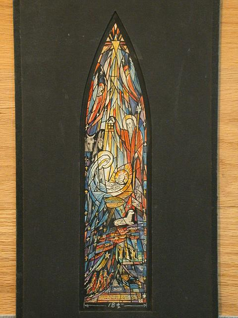 [Design drawing for stained glass Nativity memorial window with abstracted soaring lines]