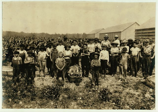Group of field-workers at Huttings Tobacco Farm. One of 9 years, two of 11 years, 8 of 12 years, 5 of 13 years, 3 of 14 years, 1 of 15. Four of 11 and 12 had gone home and were not counted. Most of these get $1.50 a day.  Location: Rockwell, Connecticut