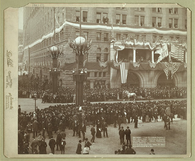 The Columbian Parade. Oct. 20th, 1892. Forming of parade on lake front. 100,000 people in sight. Section No. 1